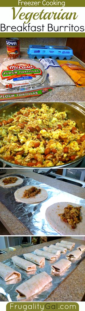 Freezer cooking: Vegetarian breakfast burritos. Mexican. Tasty, filling and cheap! Only five ingredients. Pinto beans in sauce eggs rice cheese flour tortilla