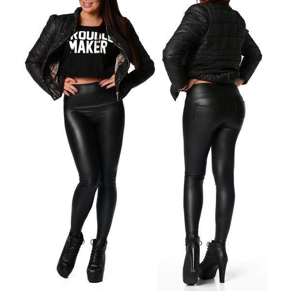 Spring Winter Warm Sexy Latex Leggins Faux-Leather Matt Tight High... ($31) ❤ liked on Polyvore featuring pants, black, women's clothing, high waisted trousers, high-waisted pants, faux leather trousers, high rise pants and high waisted pants
