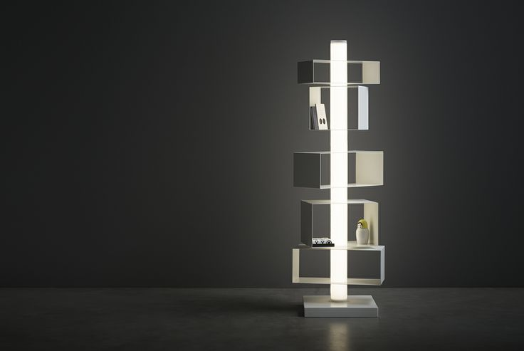 Twist&Light is a spacious vertical container ideal for books, ornaments, plants.. It is also a powerful low-consumption #Led light fitting that can illuminate and create the perfect atmosphere even in very large rooms #contenitore Designed by Marcello Ziliani for #Natevo. #Lighting #Lights #LEDlights #libreria #bookcase