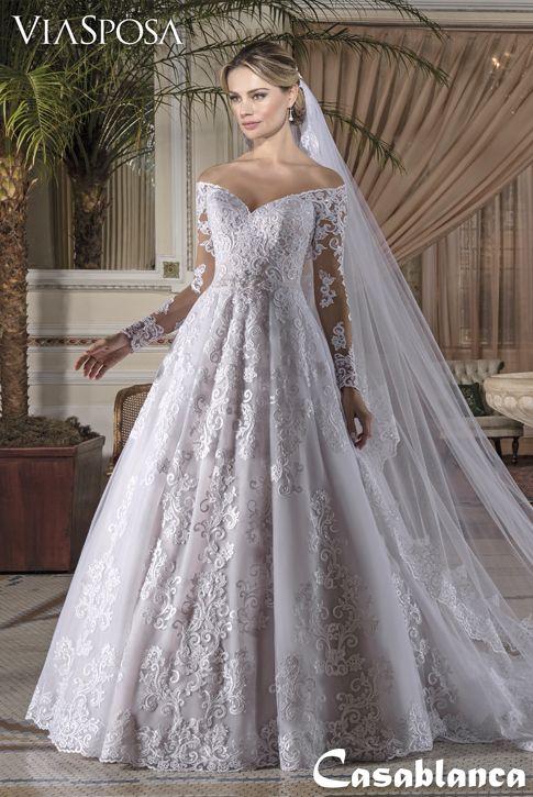 d734b9ddc4 Vestido de noiva Via Sposa Coleção Casablanca 10   Vestido rodado ...