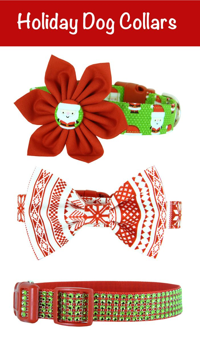 Holiday Dog Collar | Rhinestone Dog Collar | Bow Tie Dog Collar | Flower Dog Collar | Red and Green |  Christmas