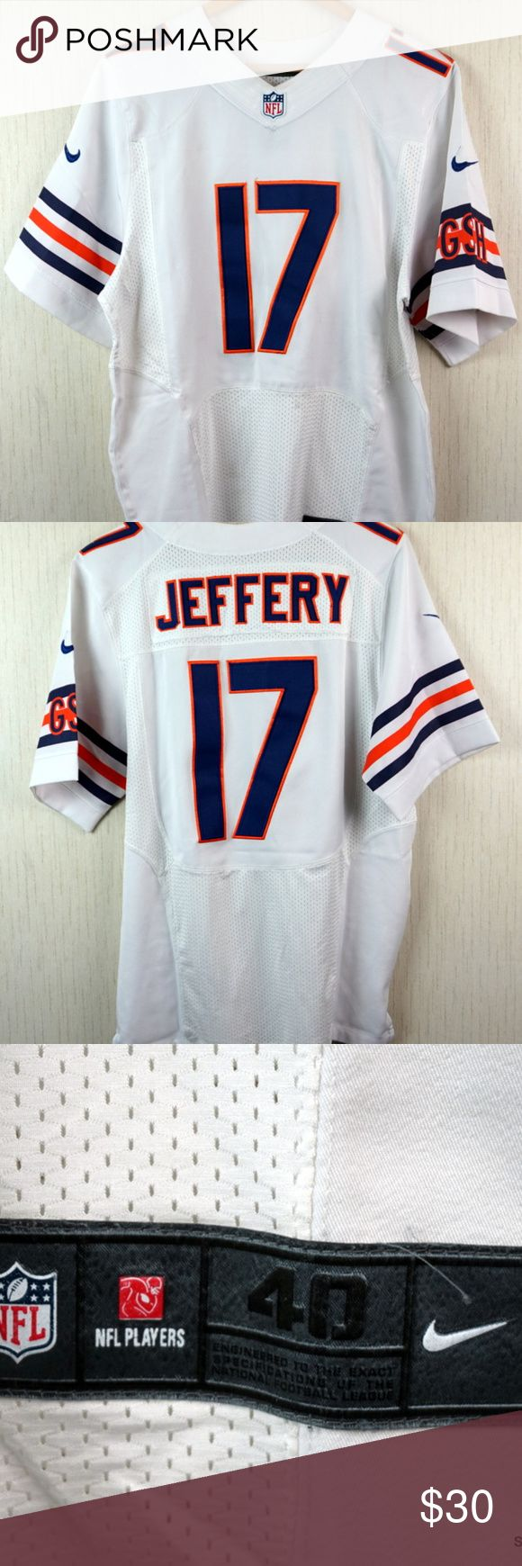 "Chicago Bears Alshon Jeffery #17 Nike NFL Jersey Chicago Bears Alshon Jeffery #17 Sewn Nike NFL On Field Jersey Men's Size 40  Brand:       Nike Color:        White Size:         Men's Size 40 Material:   Polyester  Detailed Measurements: (Front Side of Garment has been measured laying flat on a table)  Sleeves: 12 1/4"" inches Shoulder to Shoulder: 18 1/2"" inches Chest: 22"" inches Length: 31 1/4"" inches Nike Shirts"