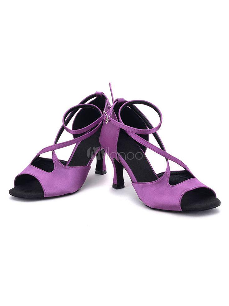 Zapatos de bailes latinos de satén cruzados Tacón bobina para baile latino de puntera abierta - Milanoo.com