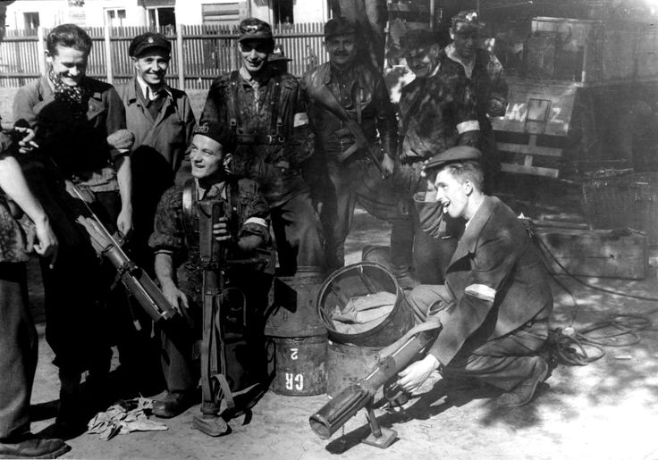 Polish insurgents of the Home Army (Polish: Armia Krajowa)pose with British Projector, Infantry, Anti Tank (PIAT) anti-tankweapons during the Warsaw Uprising. The PIAT was based on thespigot mortarsystem, that launched a 2.5 pounds (1.1kg) bomb using a powerful spring and a cartridge on the tail of the projectile. It possessed an effective range of approximately 115 yards (110m) in a direct fire anti-tank role. The Poles received very little outside assistance during the Warsaw ...