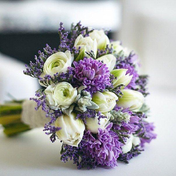 Букет с статицей (лимониум) - фиолетовые маленькие, потом сухоцветы
