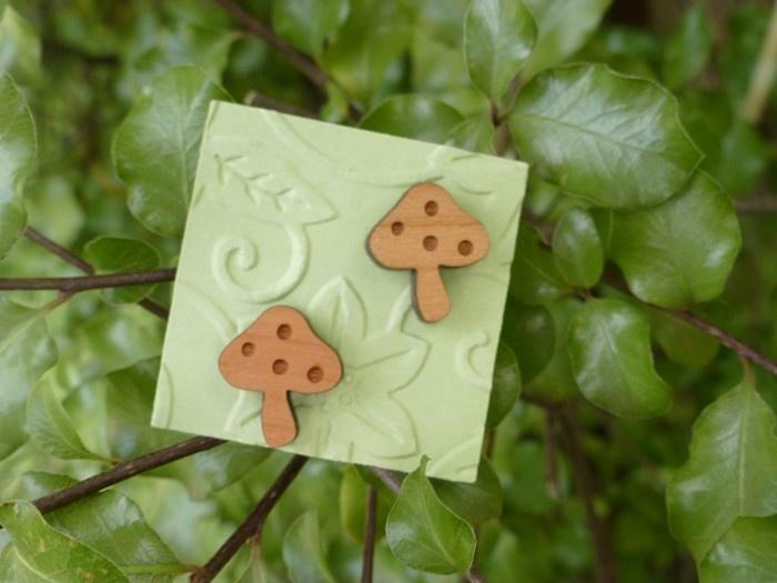 Woodland Mushroom . Laser Cut Wooden Earrings. Sterling Silver - by OnceUponATree on madeit