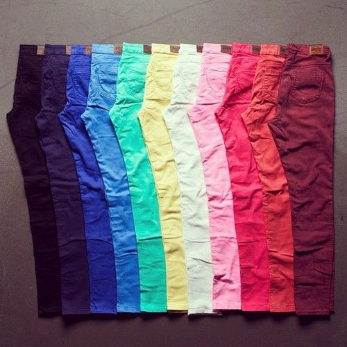 I love coloured jeans! Apart from school uniform that's all I wear! X
