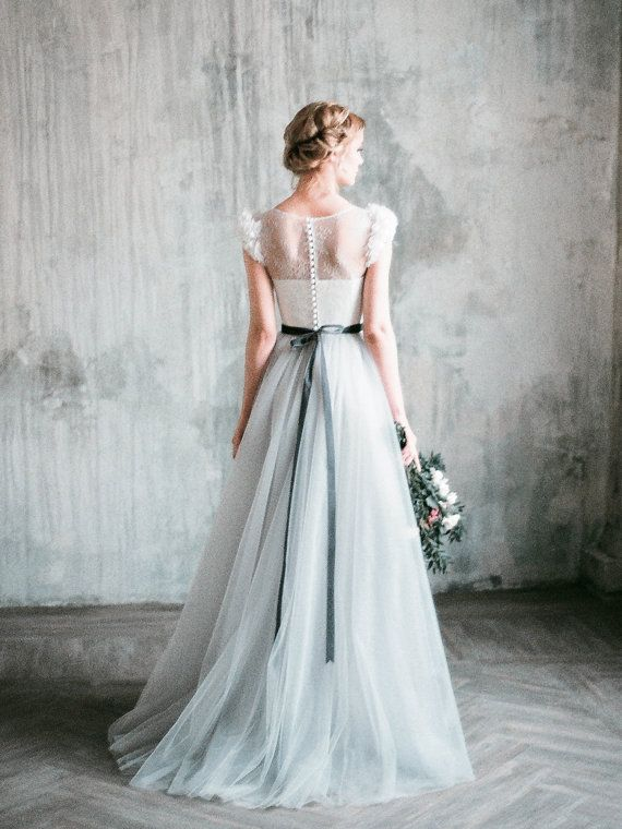 Neva  romantic grey wedding dress tulle a-line by Milamirabridal