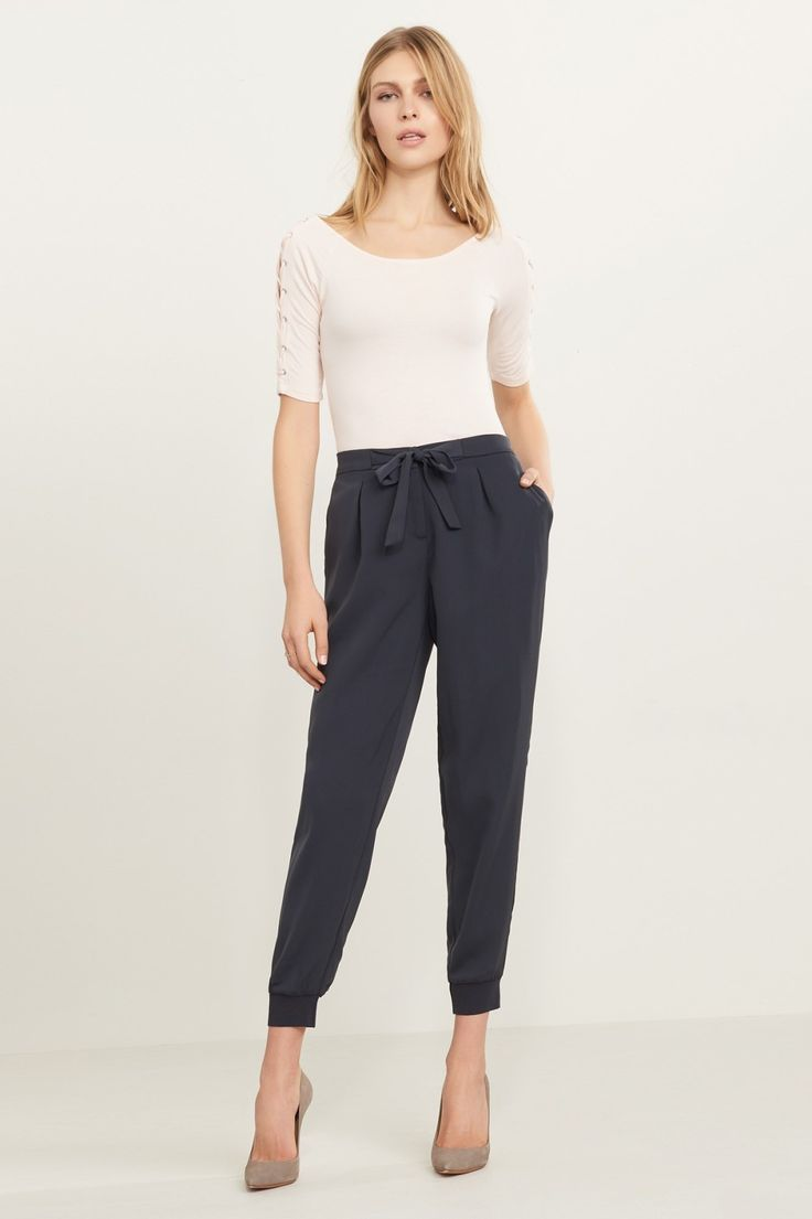 Cuff around the edges. Satin Jogger Pant with Knit Cuff