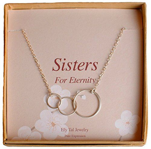 Three Sisters Necklace, Sterling Silver Interlocking Circles on Card - Triple Circle Infinity ** READ MORE @: http://www.ilikeboutique.com/boutique/three-sisters-necklace-sterling-silver-interlocking-circles-on-card-triple-circle-infinity/