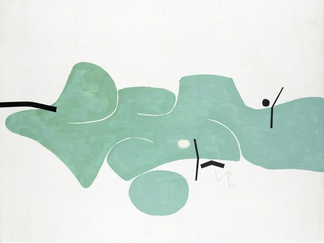 Victor Pasmore R.A. (British, 1908-1998) Green movement 90.5 x 121.5 cm. (35 3/4 x 47 3/4 in.)