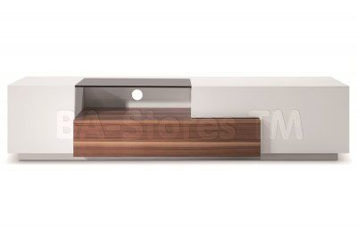 White Lacquer/Walnut Modern TV015 TV Stand - $851