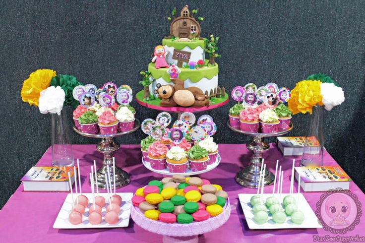 This is the first dessert table I ever attempted….My daughter loves the Russian cartoon series, Masha and the Bear…This was made especially for her :) She is the reason I started baking and she inspires me everyday :)