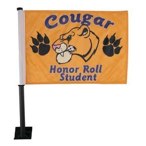 Car Flags with full color imprint front and back from http://www.schoolspiritstore.com
