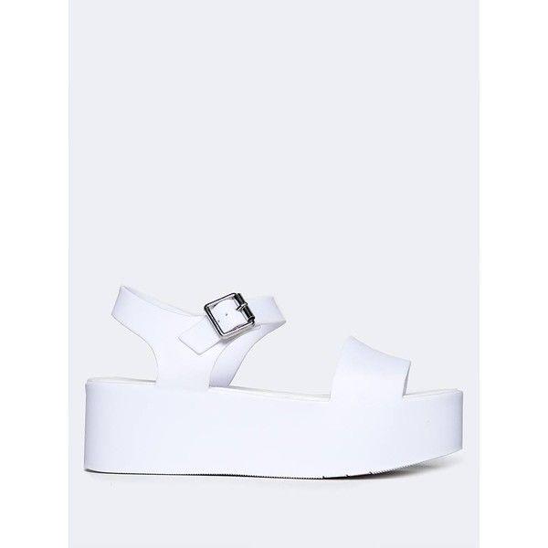 J. Adams Platform Jelly Sandal ($29) ❤ liked on Polyvore featuring shoes, sandals, white, white platform shoes, jelly platform sandals, ankle wrap sandals, ankle strap sandals and platform jelly shoes