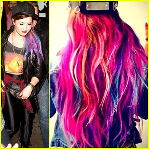 demi lovato blue half shaved hair | Demi Lovato Shows Off Colorful Clip-On Hair Extensions