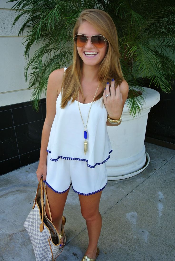 Palm Beach Glam: Blue Trim Romper