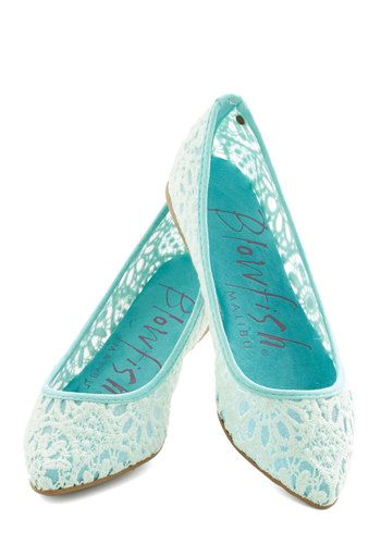 Befitting Beauty Flat in Aqua,pastel blue flats from Blowfish! Their intricately crocheted silhouettes and pointed toes infuse feminine flair to your linen top and dotted skinnies on even the most ordinary of days!