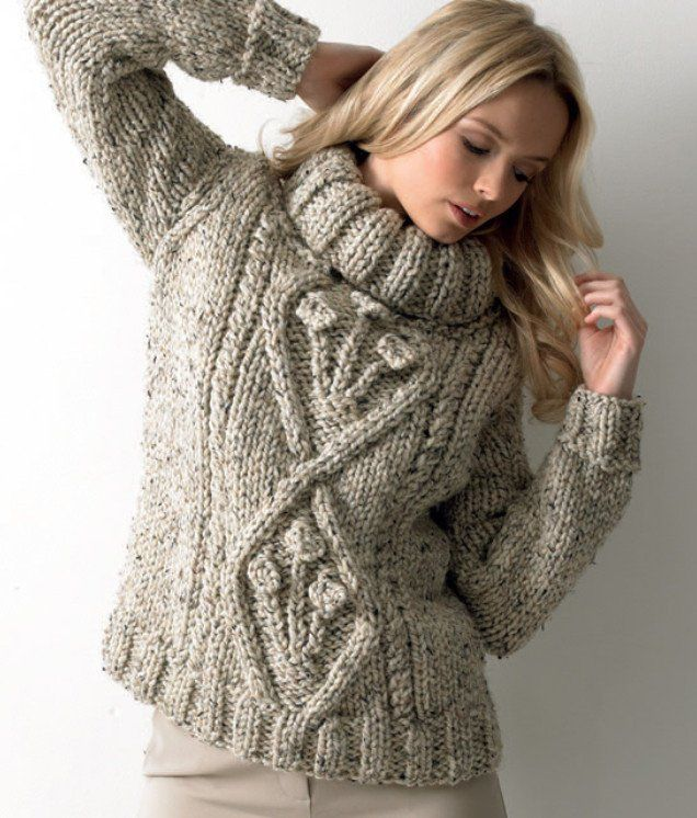 cable sweater knit with Rustic Mega Chunky