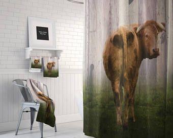 Farmhouse Chic  Rustic  Cow Shower Curtain,  Bath Mat, Bath Towels