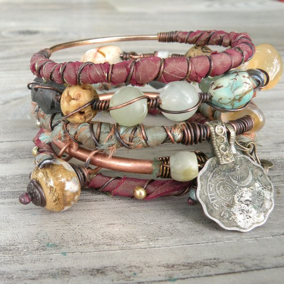 Silk Road Gypsy Bangle Stack  Bangladesh  5 Tribal Boho Bracelets by GypsyIntent .. So pretty!!