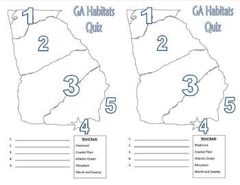 FREE! This is a quiz for students to identify the location of each of the 5 Georgia Habitats