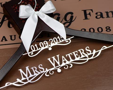 Personalized Wedding Dress Hanger Deluxe Custom Bridal Bride Name Bridesmaid