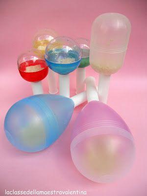 maracas con uova di plastica di riciclo - maracas by upcycled plastic eggs