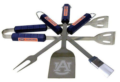 College BBQ Set - Auburn Tigers by Siskiyou. $43.00. The College BBQ set includes Spatula, Tongs, Fork, and Basting Brush with the team emblem on the colored handles of this 4 piece set. Topping it off with the logo laser etched on the blade of the spatula. Min. quantity 6 of any BBQ utensil set style.