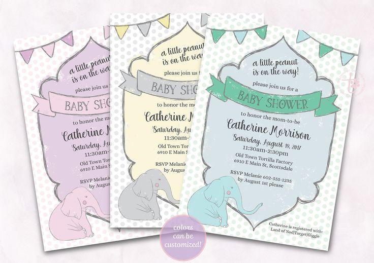 Little Peanut Baby Shower invitation. Elephant Baby Shower Invitation. Boy Baby Shower. Girl Baby Shower. Printable baby shower invitation. by TinyPawsArt on Etsy
