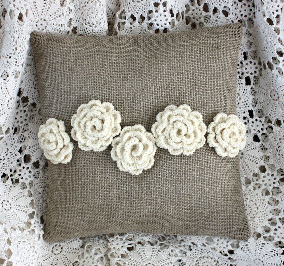 Crochet Rose Pillow