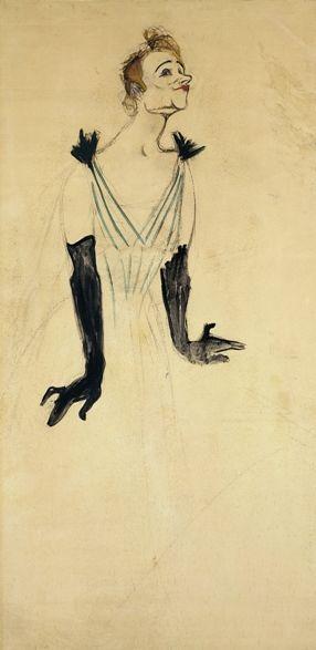 """By Henri de Toulouse-Lautrec (1864-1901), 1894, """"Les Gants noirs d'Yvette Guilbert"""", Oil on cardboard, musée Toulouse-Lautrec."""
