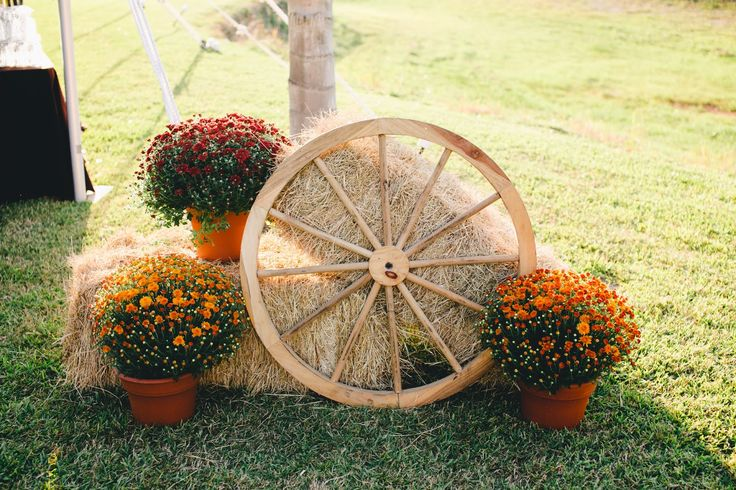 wagon wheel straw bale decorations   Wedding Part 3: The Devil's in the Details   funny stories and fun ...