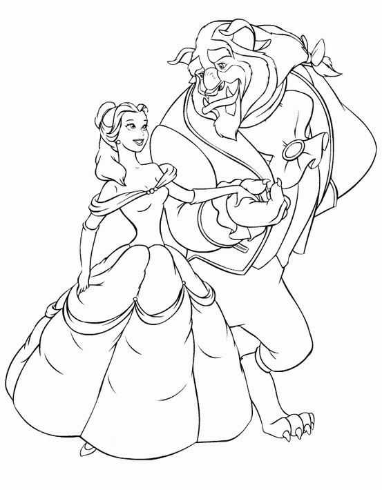 Princess Belle Beauty And The Beast Coloring Pages
