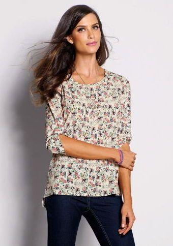 Asymetrická halenka se 3/4 rukávy #ModinoCZ #blouse #trendy #printed #stylish #bluza #tunika #moda #vzor