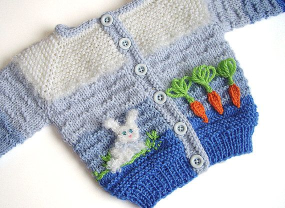 Knitted baby jacket with bunny aplique knit baby by MiaPiccina