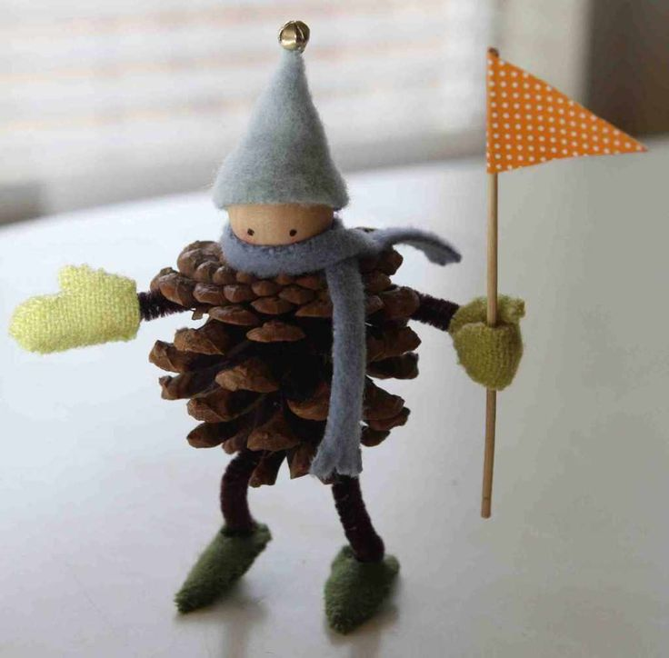 Pinecone Elf with felting