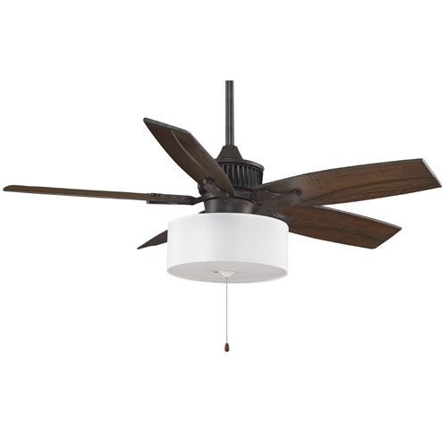 Fanimation Louvre Rust 52 Inch Ceiling Fan With Walnut Carved Blades And White Drum Shade Light Kit