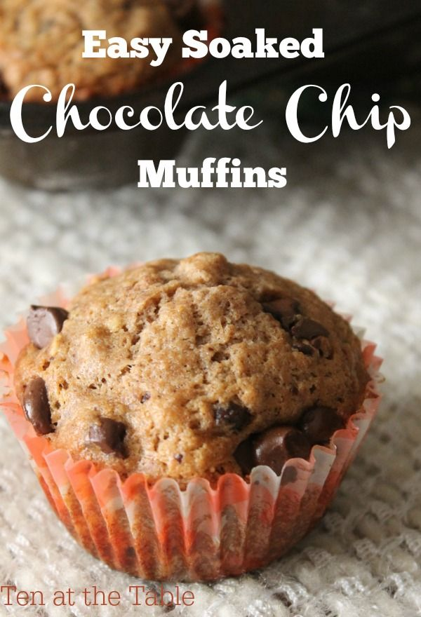 Ever heard about soaked bread recipes because they're better for you, but been intimidated? These Easy Soaked Chocolate Chip Muffins couldn't be simpler to make and are much healthier, but easily fool's picky eaters into thinking they're a regular muffin.