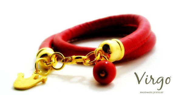 Handmade Double Red Leather Bracelet With by VirgoHandmadeJewelry