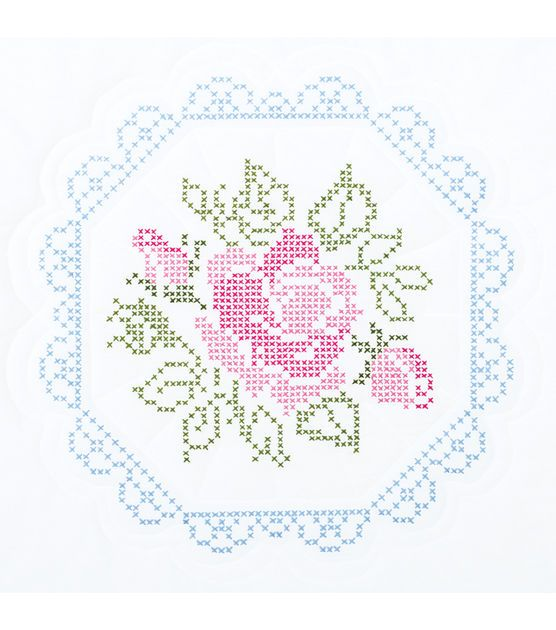 "Stamped White Quilt Blocks 18""X18"" 6/Pkg-Rose, , hi-res"