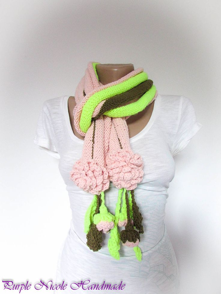 Meera - Handmade Women Comforter / Neckwarmer by Purple Nicole (Nicole Cea Mov) in baby pink, kaki green and neon green yarn, decorated with beautiful crochet roses, rose buds and leaves.