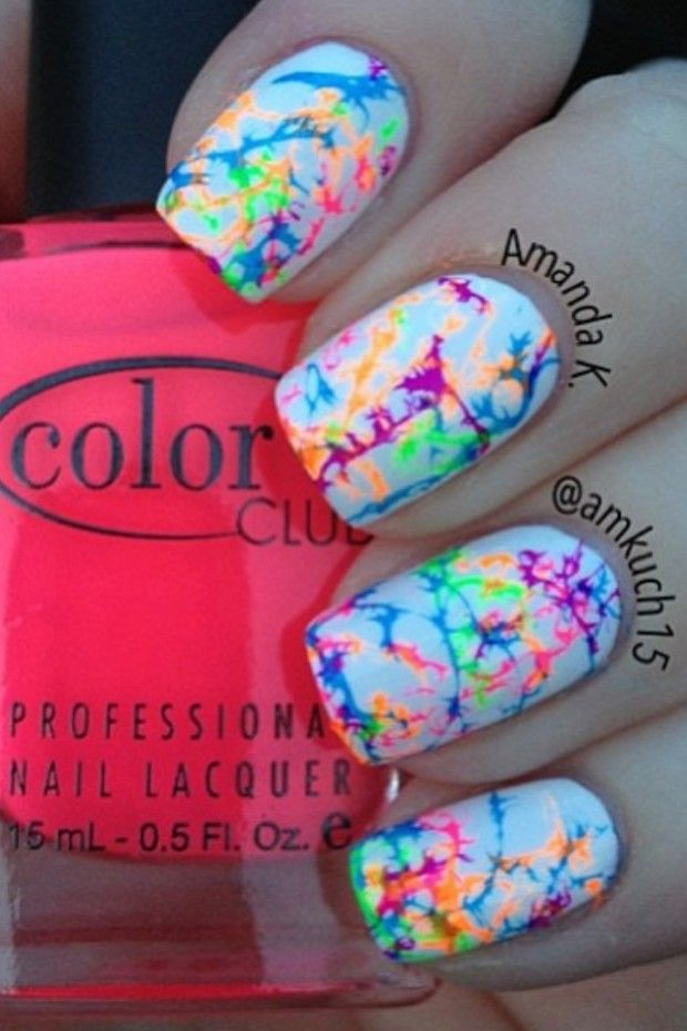 hairspray/water marble trick and Color Club's Neon polishes ;  amkuch15 ; 4/23/13
