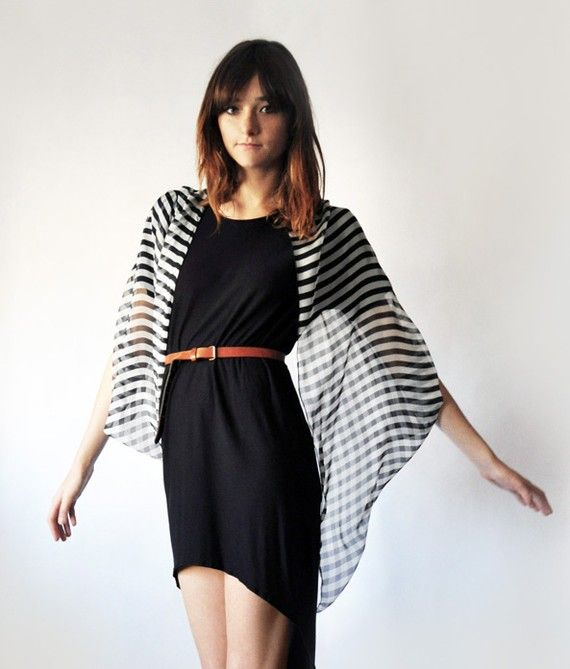 Pining after this wrap for months now... Cocoon Cardi-Cape black and white chiffon. Silk.