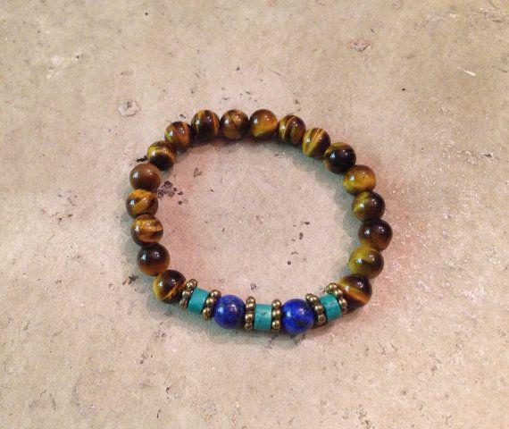 Father/Son Bracelet Tigers Eye Turquoise and by HandmadeByLilianaa