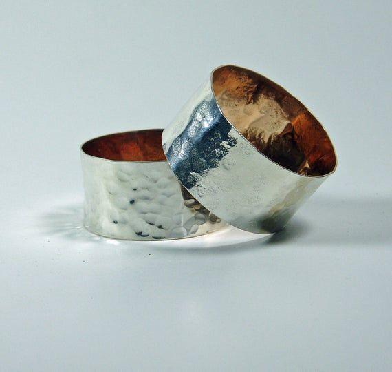 Silver Napkin Rings, Silver Anniversary Gift, Silver Filled Napkin Holder, Silver Gild, Wedding Gif