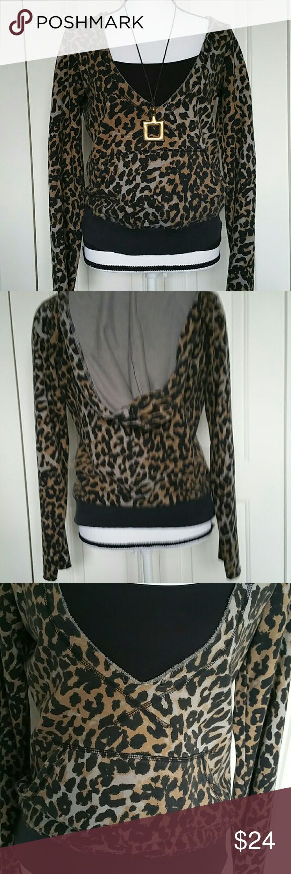 Lucky Brand Animal Print Hoodie Size small In great condition - shown with black Cami (not included) has raw edge detail & kangaroo pockets. Any questions please ask! Lucky Brand Tops Sweatshirts & Hoodies