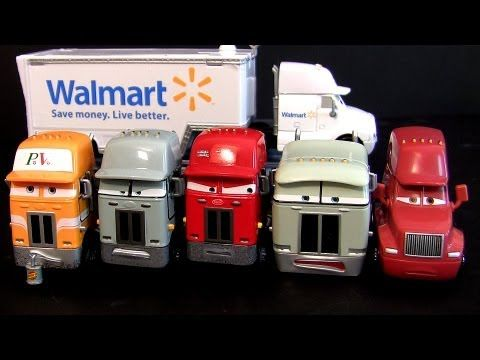 7 Pixar Cars Trucks Walmart Wally Hauler, Jerry Recycled Batteries Mattel diecast semi haulers toys - YouTube