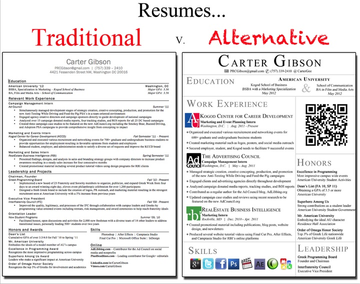 a good example of a traditional resume versus a resume that may be better suited for