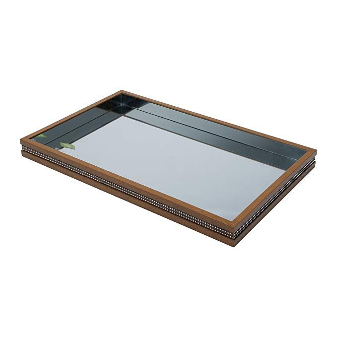 Woodart Wood And Mirror Decorative And Serving Tray Beaded Design
